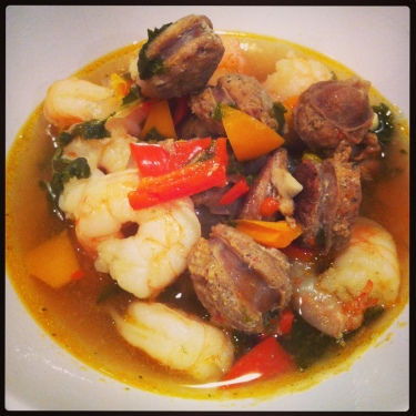 By Design Sausage, Shrimp & Veggie Stew - with kale, tri colour peppers, onion, garlic & chicken stock.