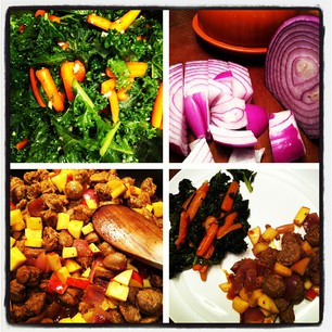 Sausages w/ onion & apple.  A side of baked kale & carrots.  YUM!