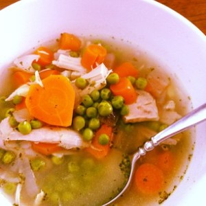 HM Chicken & Veggie Soup with little carrot hearts. :)