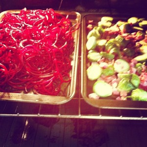 Beets & brussels sprouts with pancetta prepping in the oven.