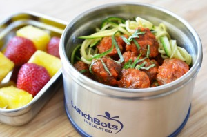Zucchini noodles with meatballs.