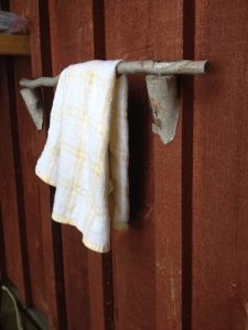 Even the towel holder fits in, made from a birch tree.